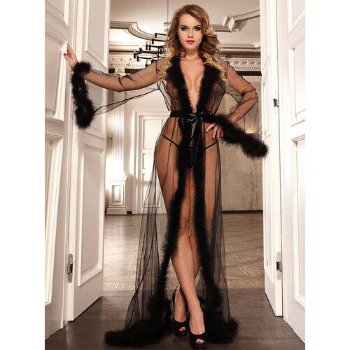 Bondara Flirt Black Faux Fur Sheer Robe