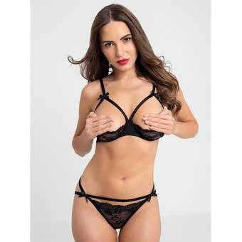 Lovehoney Black Quarter Cup Bra and Crotchless Knickers Set
