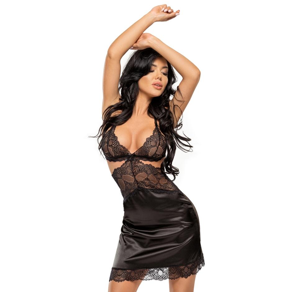 Beauty Night black satin chemise
