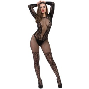 see through lace and sheer crotchless bodystocking