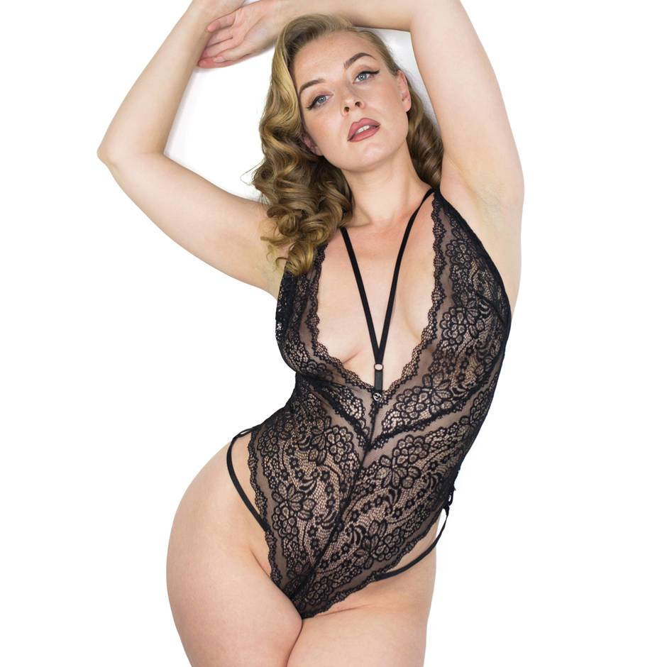Black lace crotchless bodysuit