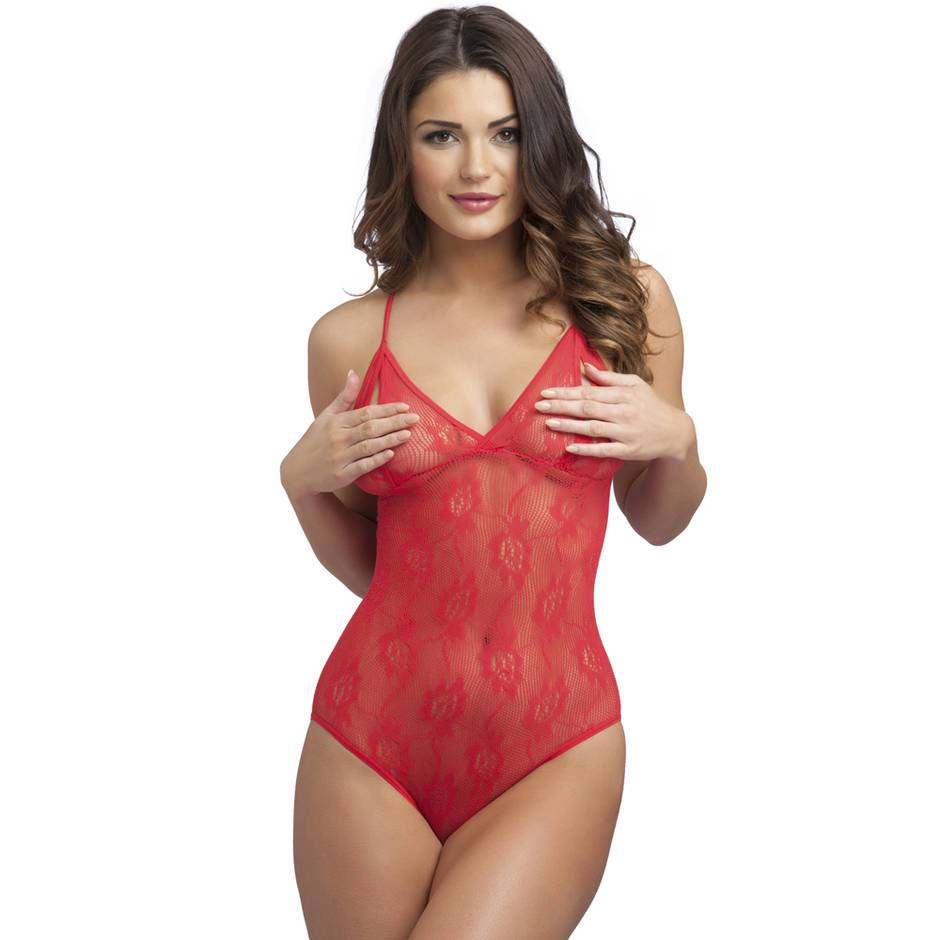 crotchless sheer red lace bodysuit with peekaboo cups