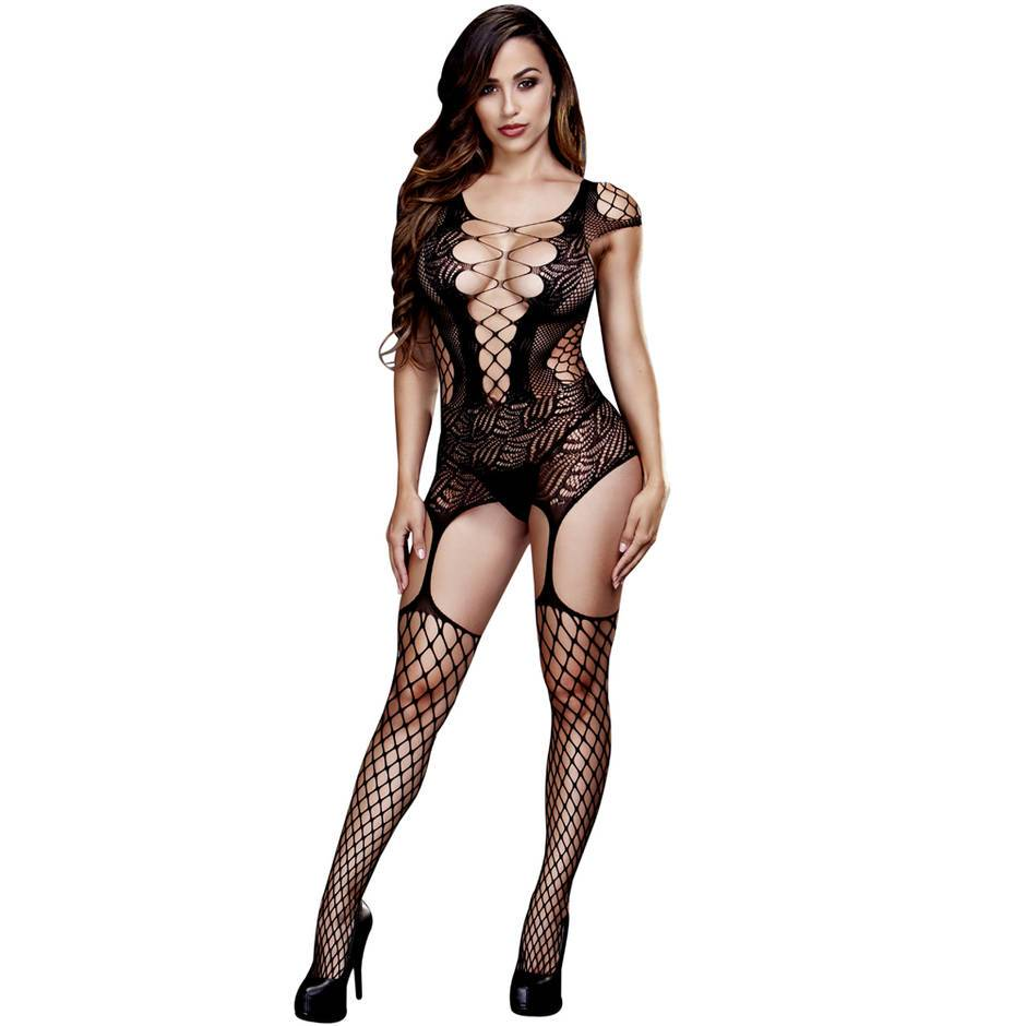 Black Lace and Fishnet Suspender Bodystocking
