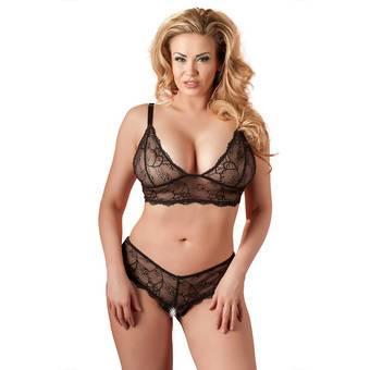 Cottelli Plus Size Black Lace Sheer Crotchless Bra Set