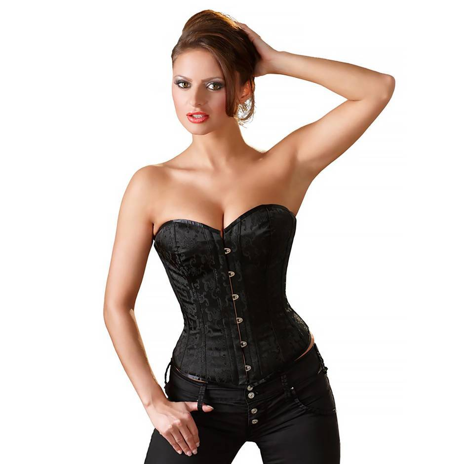 basque corset with front fastening in black brocade fabric