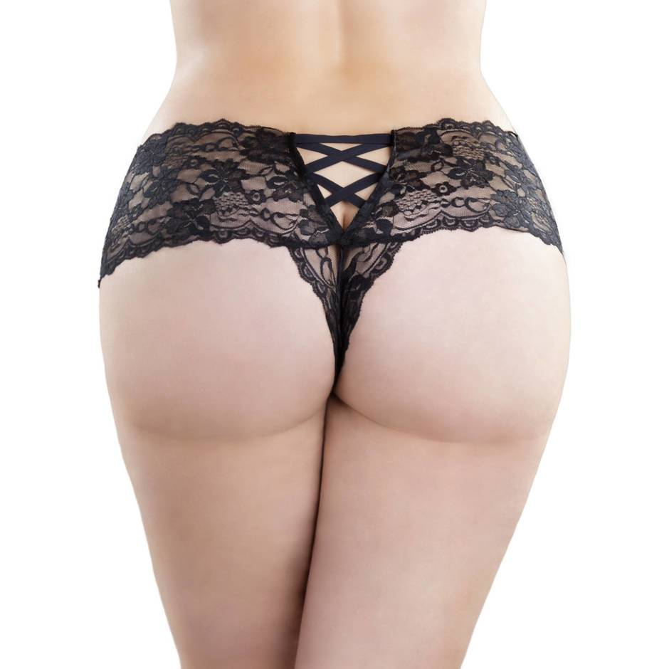 black lace thong back plus size crotchless knickers with lace up detailing