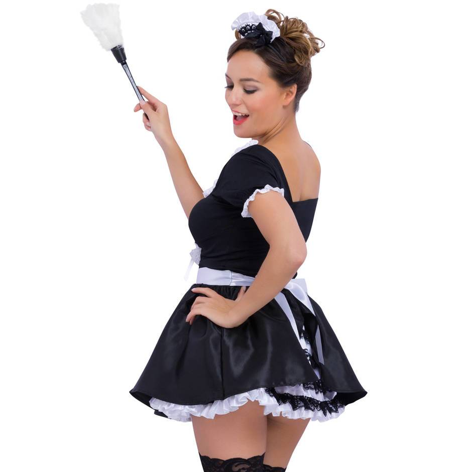 sexy vintage style french maid costume with ruffled petticoat