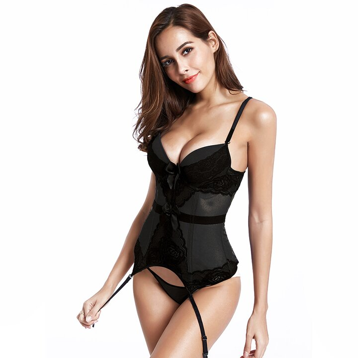 woman in black basque and suspenders