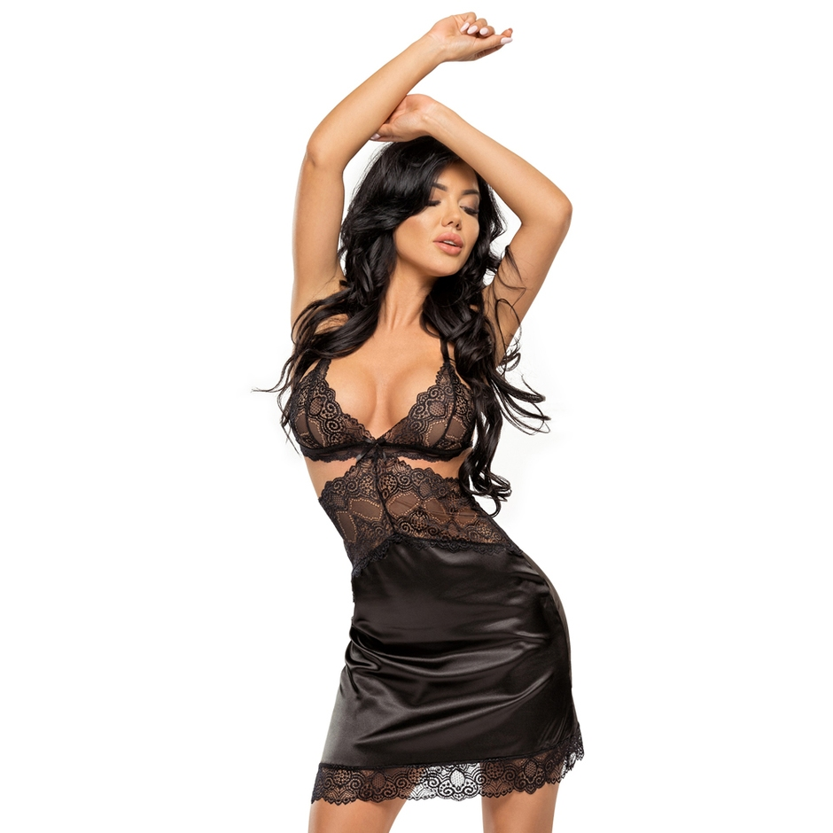 black satin and lace chemise