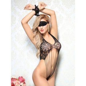 Bondara Flirt Strappy Teddy, Eye Mask and Cuffs
