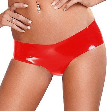 Bondara Siren Red Latex Crotchless Hot Pants