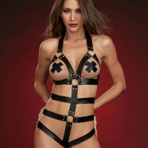 Dreamgirl Black Faux Leather Harness Body