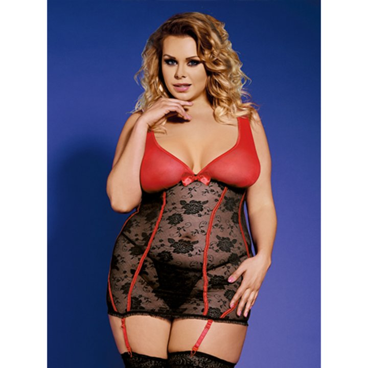 see through lace plus size chemise with sheer red cups and attached suspenders