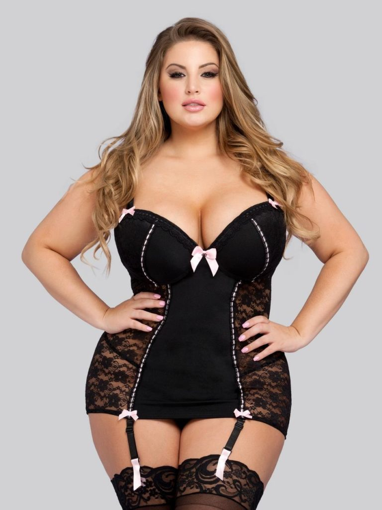 plus size black chemise with see through lace side panels and push up bra