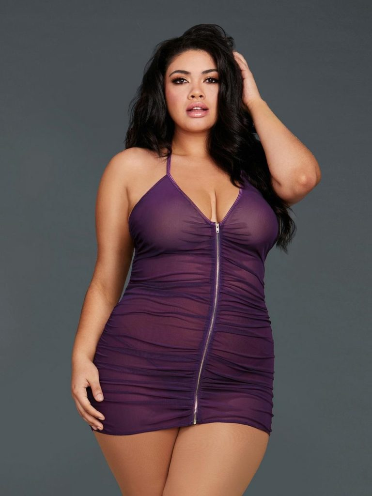 see through purple chemise with zip up front