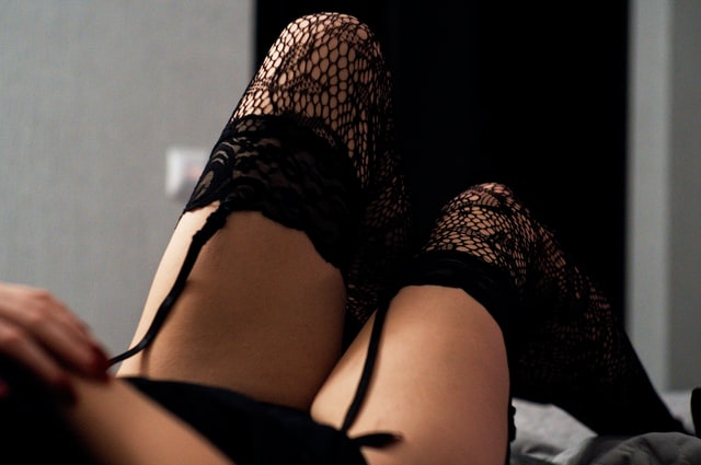 Sexy bedroom roleplay ideas - lady in lace stockings and suspenders