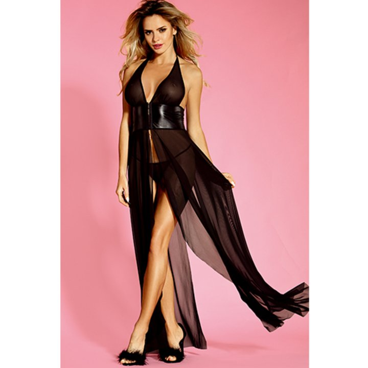 see through sexy black maxi dress