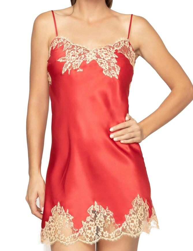 red silk chemise nightwear with see through lace fringes