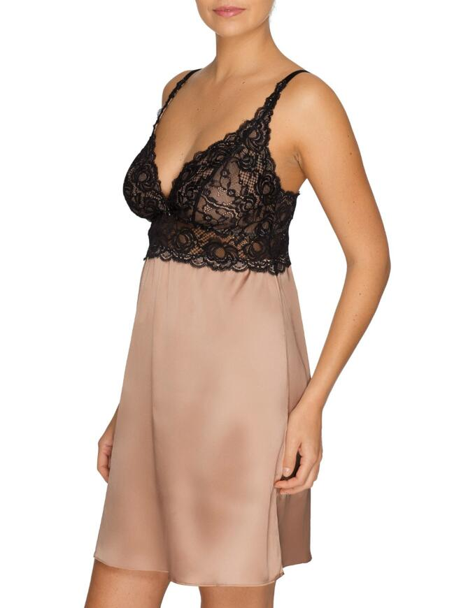 nude silk chemise with black lace cups and bodice