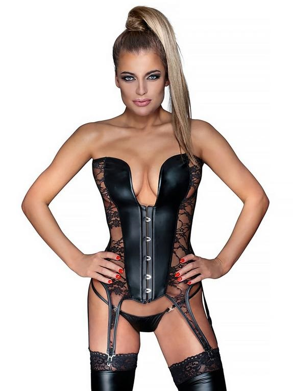 Wet look strapless basque with see through lace panels.