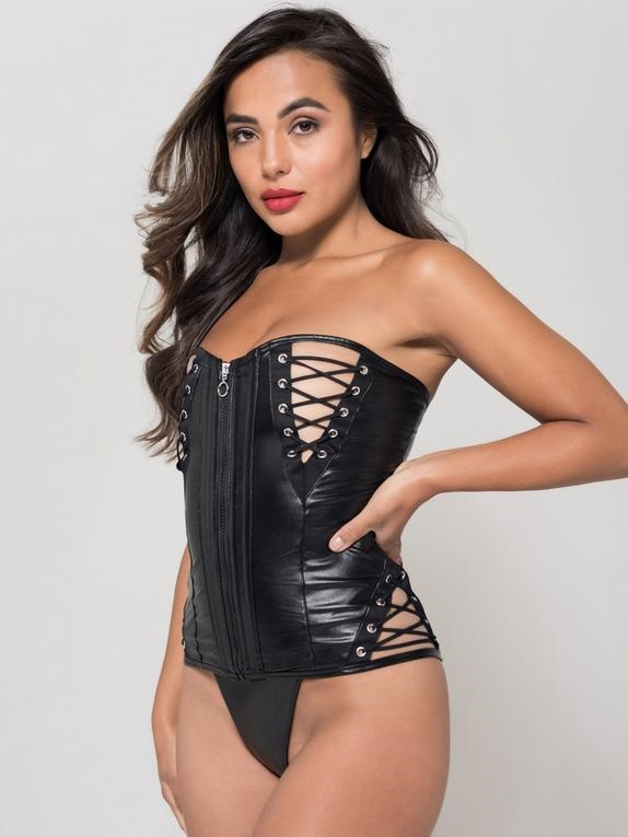 fetish leather look basque with lace up detailing and zip front.
