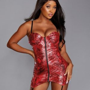 Dreamgirl Red Snakeskin Print Underwired Stretch Chemise