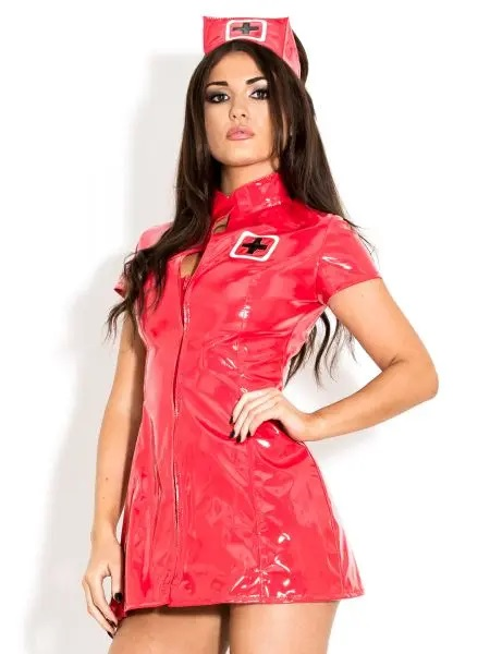 sexy bright red pvc nurse dress with zip up front