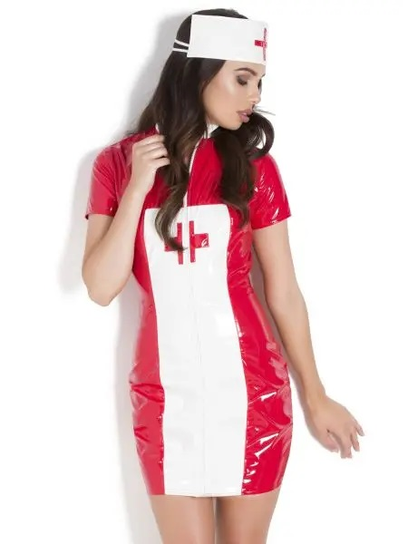 red and white pvc sexy nurses outfit with white headpiece