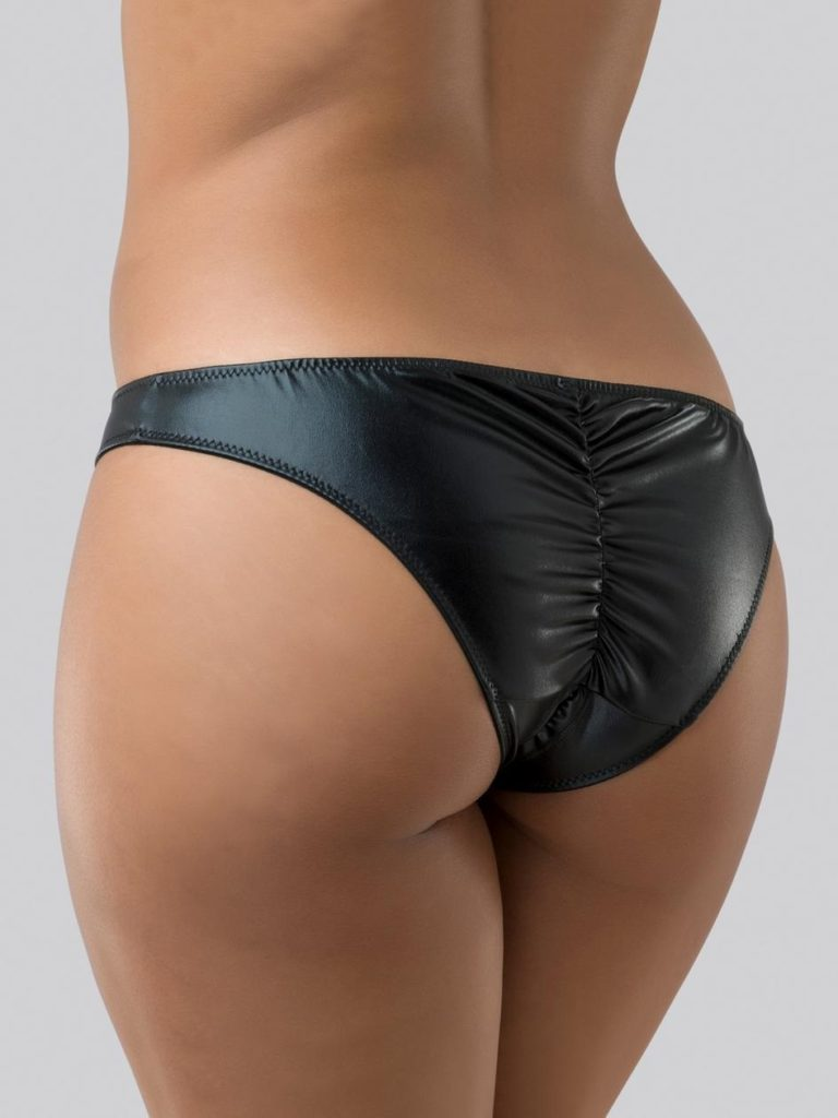 black wet look crotchless knickers