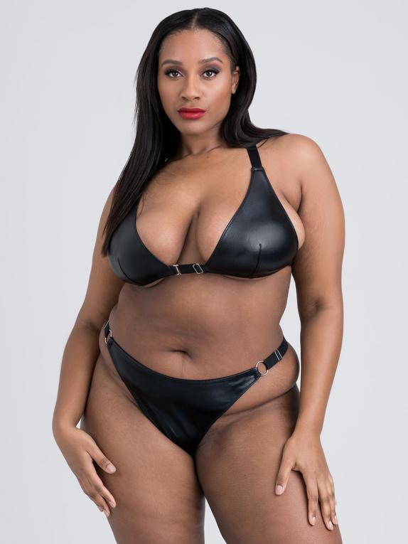 Lovehoney Plus Size Fierce Wet Look Front-Opening Bra Set