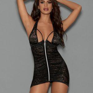 Escante Black Lace Halterneck Zipper Front Chemise Set