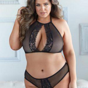 Allure Plus Size Black Lace Halterneck Bra Set