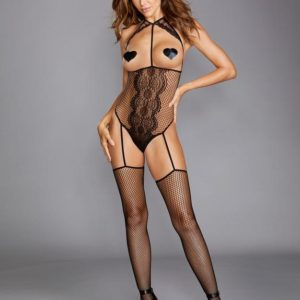 Dreamgirl Black Fishnet and Lace Open-Cup Bodystocking