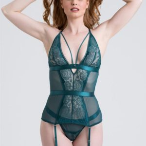 Lovehoney Moonflower Emerald Green Lace Strappy Basque Set