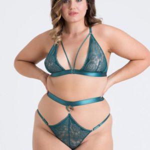 Lovehoney Plus Size Moonflower Emerald Green Lace Strappy Bra Set