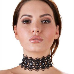 Cottelli Black Lace Rhinestone Choker